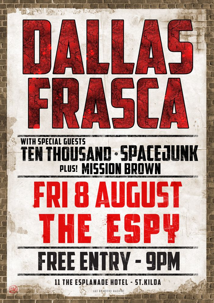 Free Dallas Frasca show at Espy with very special guests Ten Thousand